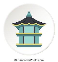 Traditional korean pagoda icon, flat style