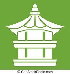 Traditional korean pagoda icon green