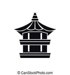 Traditional korean pagoda icon, simple style