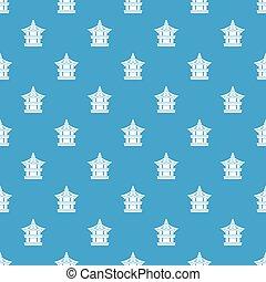Traditional korean pagoda pattern seamless blue