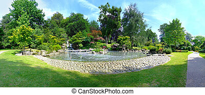 Traditional Kyoto garden in Holland park panorama