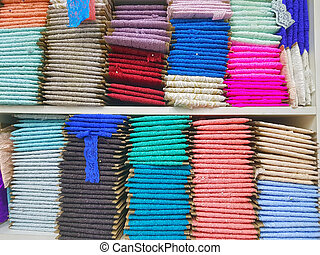 Traditional lace fabric for sale, in the market