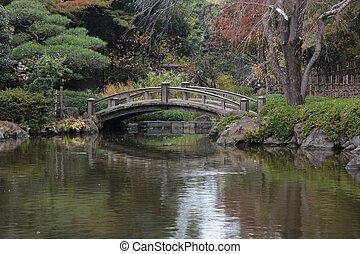 The wooden bridge in the Japanese garden