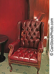 Traditional leather armchair - Old-fashioned traditional...