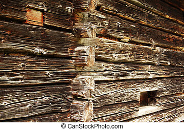 traditional log home - wall of old traditional log home