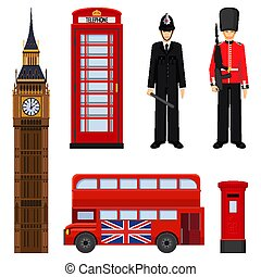 Traditional London sightseeing set vector illustration...