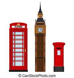 Traditional London sightseeing set vector illustration...