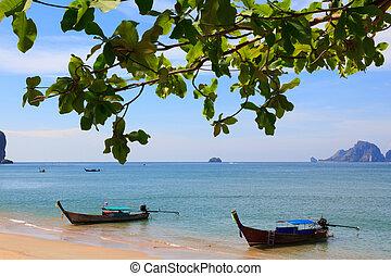 Traditional longtail boats at Andaman sea, Thailand