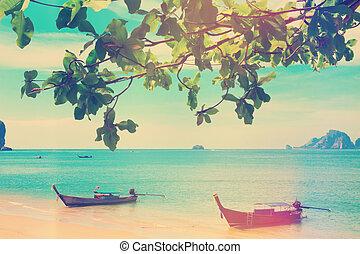 traditional longtail boats at sea