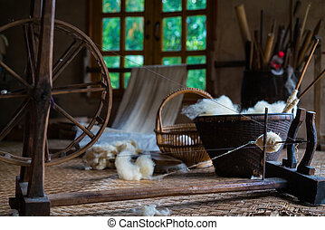Traditional loom for wool clothes. Soft Focus - Soft focus...