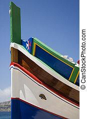 Traditional Luzzu fishing boat in Malta