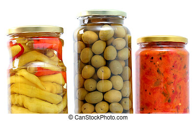 Traditional Macedonian food Luteniitza in jar , chilli paprika and olives in jar. homemade product