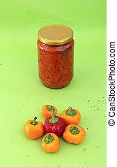 Traditional macedonian food. Lutenitza in jar . homemade product