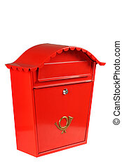 traditional mailbox - Red mailbox shot in studio from an...