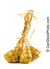 Traditional Malay compact glutinous rice called Ketupat for...