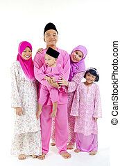 traditional malay family during hari raya occaion