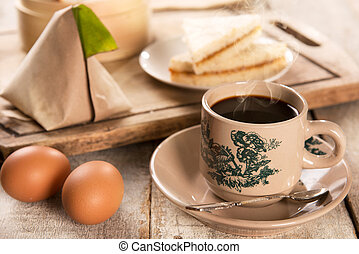 Traditional Malaysian Chinese coffee and tasty breakfast - ...