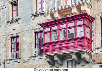 Traditional Maltese balcony in Valletta, Malta - Traditional...