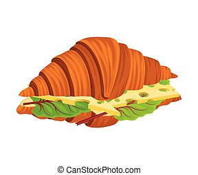 Traditional Meal of Crispy Croissant with Stuffing Vector ...