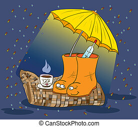 Traditional medicine, boots, a thermometer, a blanket, tea parasol. Vector illustration.