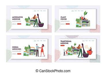 Traditional Medicine Landing Page Template Set. Doctors Characters Make Drugs of Medical Herbs and Plants, Preparing Homeopathic Recipes for Personal Use, Ayurvedic Remedy. Cartoon Vector Illustration