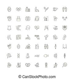 Traditional medicine line icons, signs, symbols vector, linear illustration set