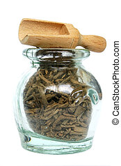 Traditional Medicine - Old glass jar with herbal medicine...