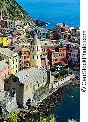 Traditional Mediterranean architecture of Vernazza, La Spezia, Liguria, Italy