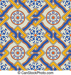 traditional mediterranean pattern - seamless vector pattern ...