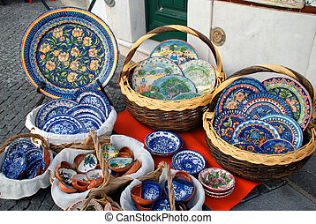 Traditional Mediterranean pottery on the street market