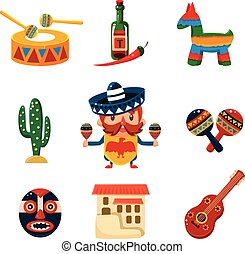 Traditional Mexical Objects Vector Illustration - Set of...