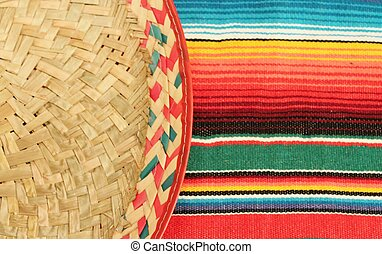 Traditional Mexican fiesta poncho rug  in bright colors with sombrero