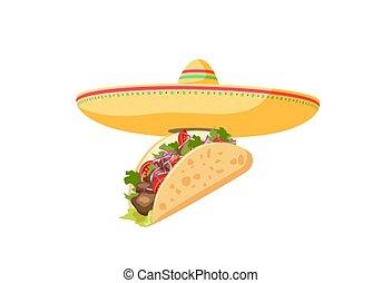 Traditional Mexican Food - Taco. Cartoon banner taco and sombrero. Vector illustration