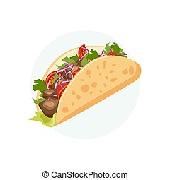 Traditional Mexican Food - Taco. Cartoon banner. Vector illustration