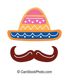 traditional mexican hat with mustache flat style icon