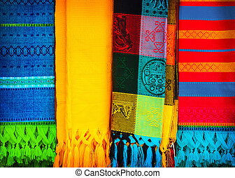 Beautiful traditional Mexican neckerchiefs, abstract colorful background, multicolored cloth, handmade Indian blanket