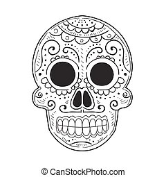 Traditional Mexican Painted Scull, Dia De Muertos Holiday ...