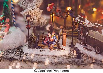 Traditional miniature Christmas village