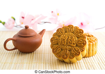 Traditional mooncakes with teapot