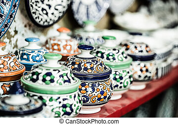 Traditional moroccan earthenware at local street