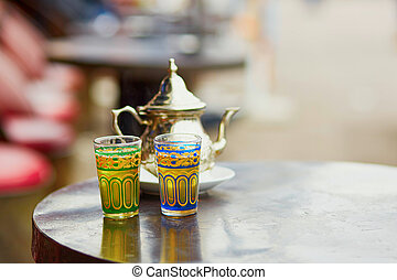 Traditional Moroccan mint tea in a cafe of Marrakech