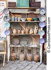 Traditional moroccan souvenirs on souk in Essaouira, Morocco, Africa