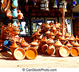 Traditional morocco souvenirs in the street market