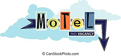 Traditional motel sign - Old-fashion motel sign, EPS 8...