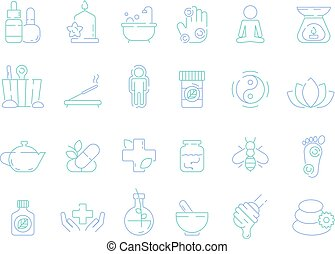 Traditional naturopathy icon. Alternative herbal medicine vitamin bioenergy health osteopathy and homeopathy tools vector symbols. Illustration of medication naturopathic and medicine healthy