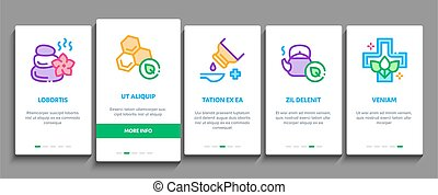 Traditional Naturopathy Medicine Onboarding Mobile App Page Screen Vector. Naturopathy Alternative Therapy With Honey And Herb, Music And Mushrooms Color Illustrations