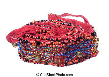 Traditional Nepalese Beaded Belt Macro Isolated
