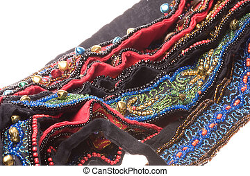 Traditional Nepalese Beaded Belts Macro Isolated