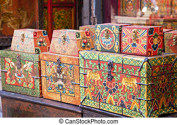 Image of traditional Nepalese trinket boxes for sale.