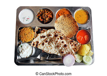 Traditional north indian plate meals or lunch with roti,...